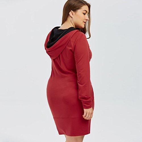 ZKOO Mujeres Sudadera con Capucha Suelto Manga Larga Sudadera Pulóver Sweatshirt Blusa Otoño Invierno Rojo