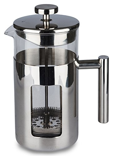 CoffeeGet 8 Cup 34 Oz French Press Coffee Maker, Stainless Steel Frame & Filter