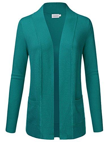 JJ Perfection Women's Open Front Knit Long Sleeve Pockets Sweater Cardigan DarkGreen S