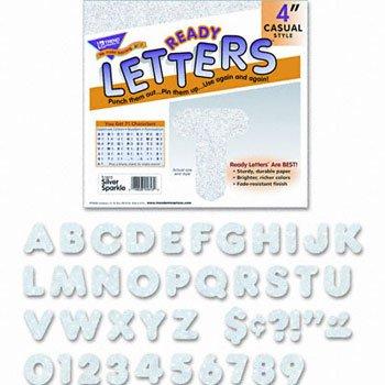 """Trend T1613 Ready Letters Sparkles Letter Set, Silver Sparkle, 4""""h, 71/Set (TEPT1613) -  TREND enterprises"""