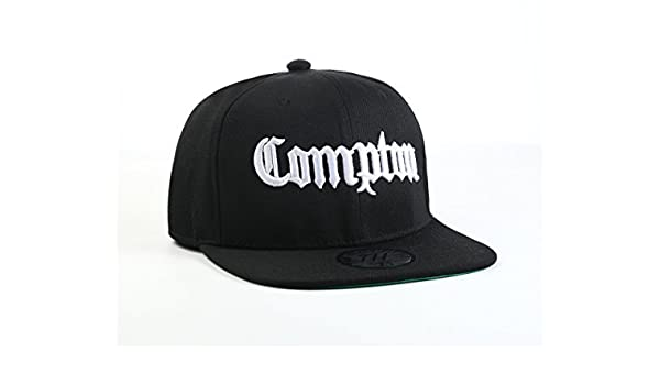 3e73a6fce0cfd Amazon.com  New Compton Black Fitted Flat Peak Baseball Cap 7 1 4