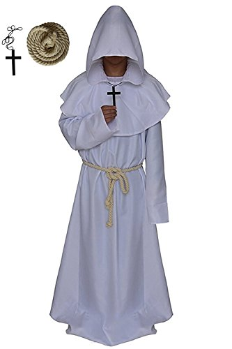Men's Halloween Medieval Monk Hooded Robe Priest Tunic Cosplay Costume Cloak (Large, White)