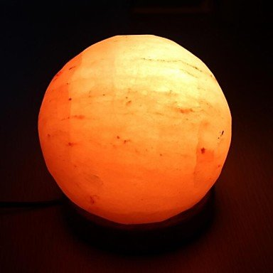 Linyrh- Himalayan Light Globe Hand Carved Natural Air Purifying Himalayan Salt Lamp with Neem Wood Base Bulb and Dimmer Switch , 110-120V