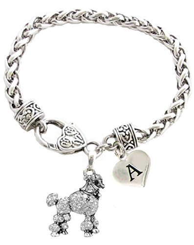 Custom Poodle Dog Silver Bracelet Jewelry Choose Initial Charms Toy Mini
