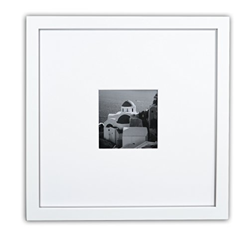 Golden State Art, Smartphone Instagram Frames Collection, 11x11-inch Square Photo Wood Frame with White Photo Mat & Real Glass for 4x4 photo, White