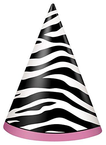 Zebra Print Party Hats, 8ct (Zebra Hats)