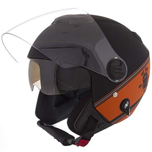 Pro Tork Capacete New Atomic Skull RideRosa Hd Fosco 58 Preto/Laranja