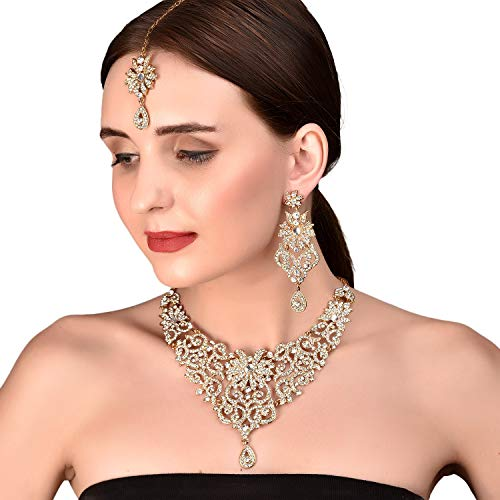 Touchstone Indian Bollywood traditional royal look attractive filigree carving white Rhinestone grand bridal designer jewelry necklace set for women in antique gold tone