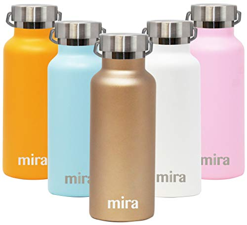 MIRA Alpine Water Bottle with 2 Lids, Vacuum Insulated 18/8 Stainless Steel, Durable Shiny Finish   17 oz (500 ml)   -