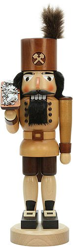 German Christmas Nutcracker Miner with ore box natural - 42,5cm / 16.7inch - Christian Ulbricht by Authentic German Erzgebirge Handcraft