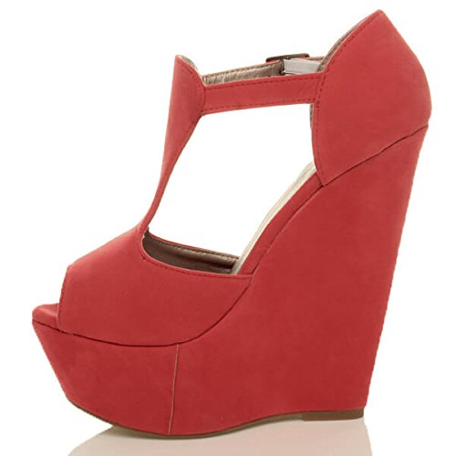 Womens Ladies high Heel Wedge Platform Summer Party t-Bar Buckle Strap peep Toe Sandals Shoes Size Coral zm4pxNSAqO