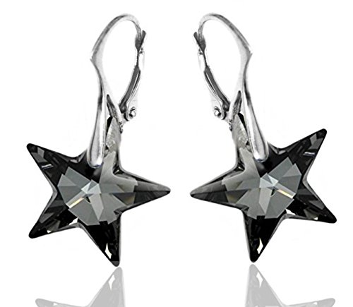 Royal Crystals Sterling Silver Made with Swarovski Crystals Grey Black Star Dangle Leverback Earrings