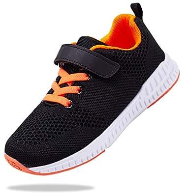 Santiro Kids Sneakers Boys Girls Breathable Lightweight Tennis Athletic Running Shoes (Little Kid/Big Kid) Black Size: 1 Little Kid