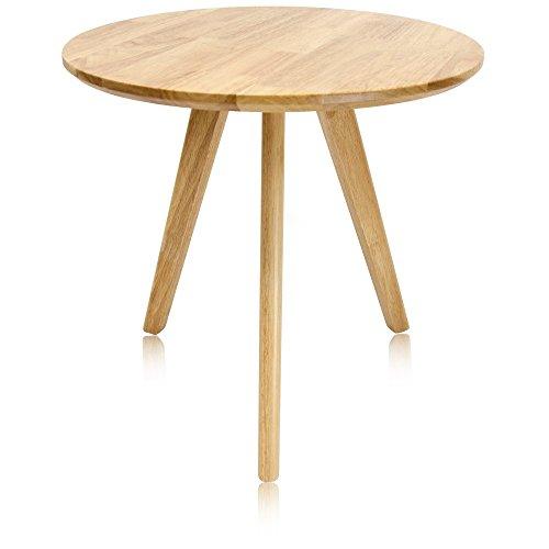 Krei Hejmo Solid Wood Coffee Tea Sofa Side Table (101-Round, Natural Finish) Coffee Brown Natural Wood