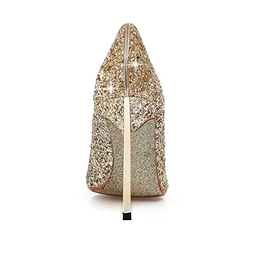 Silver Wedding Pointed High AIWEIYi toe Heel Shoes Pumps Bridal Womens Ultra thin Gold Gold Glitter zOgqg