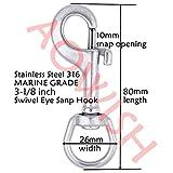 AOWISH 4 PCS 316 Stainless Steel Swivel Eye Bolt