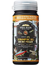 Ultra Fresh - Tropical Micro Pellet, Amazing palatability, 40% Sword Prawns, 6% Natural Spirulina, Super Tasty, Nutritious, Natural Color Enhancement, No Pollution to Water, Tropical fish food pellet for Small and Medium Size Tropical Fish.