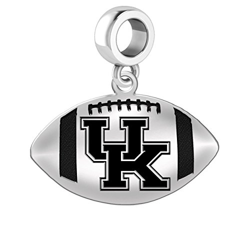(University of Kentucky Wildcats Sterling Silver Football Cut Out Drop Charm Fits All European Style Charm Bracelets)