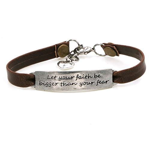 Ladies Vintage Antique Inspirational Leather Bangle Bracelets Jewellery Engraved Message Encourage Let Your Faith Be Bigger than Your (Leather And Metal Bracelet)