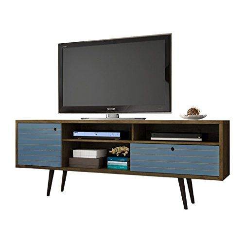 (Manhattan Comfort Liberty Collection Mid Century Modern TV Stand With Three Shelves, One Cabinet and One Drawer With Splayed Legs, Wood/Blue)