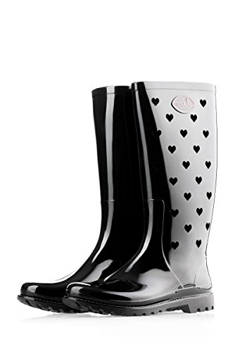Rain Perforated Wellington Boots Wellies Hearts Ladies Mei Black 8fqHXH