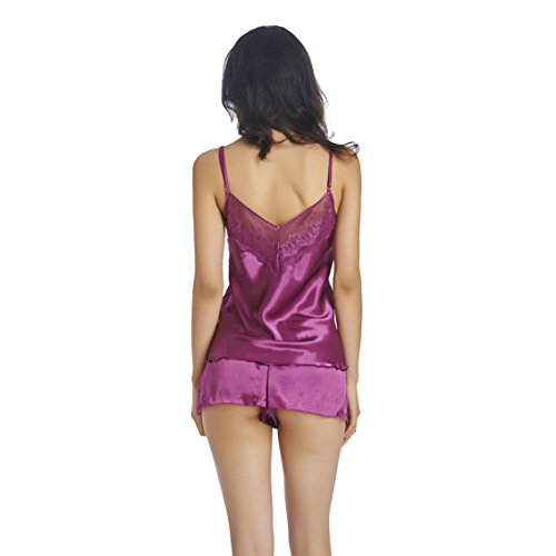 Queenral Two Pieces Cami Set Womens Satin Sleepwear Pyjamas