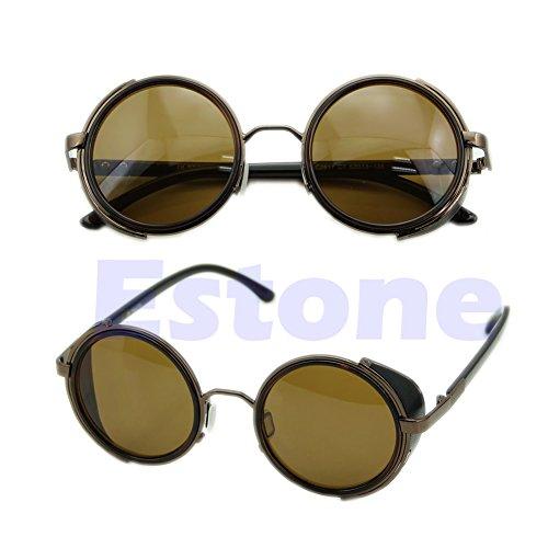retro Red estilo estilo Gafas Steampunk sol vintage vintage Marrón Gold de 50s estilo estilo Lamdoo wCZqYa