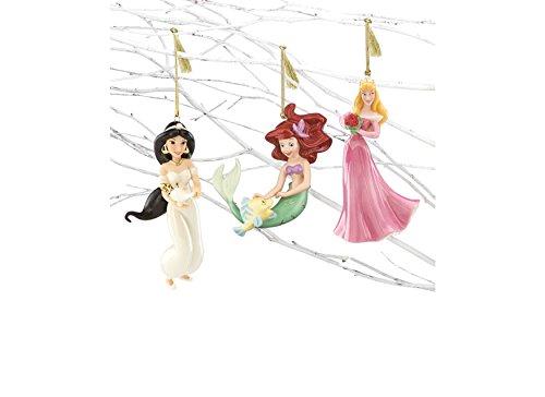Lenox Disney Christmas Princess Ornament Set 3 Jasmine Ariel Sleeping Beauty Aurora