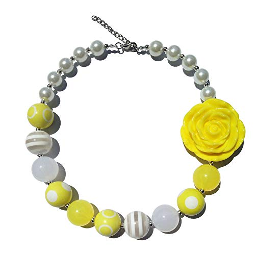 FidgetGear New 41cm Yellow Flower Beads Bubblegum Necklace for Kids Girl Birthday ()