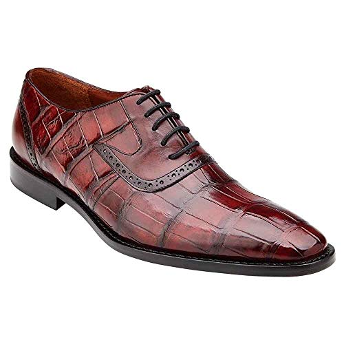 Belvedere Walter Wine Men Genuine Alligator & Italian Calf Men's Lace Up Shoes Burgundy