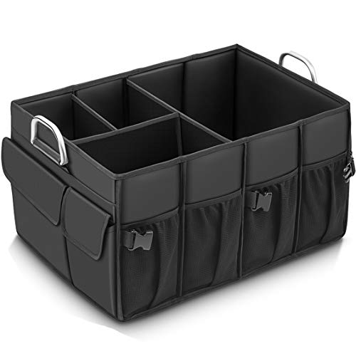 MIU COLOR Foldable Car Trunk Organizer Washable Automotive Waterproof Storage Box Suitable for SUV (Black with 2 Strap) (Black Trunk Large)