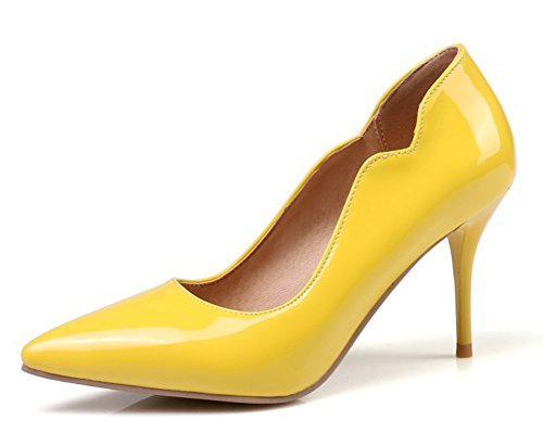 Aisun Damen Lack Kunstleder Spitz Zehen Stiletto High Heels Pumps Low Top Pumps Gelb