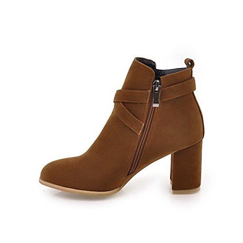 BalaMasa Womens No-Closure Boots Solid Chunky Heels Urethane Boots Yellow 5H8Lseo