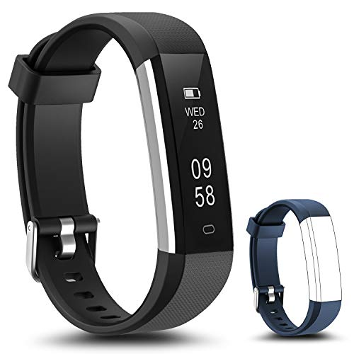 LYOU Fitness Tracker, Fitness Watch: Activity Tracker Smart Wristband Sleep Monitor Replacement Strap Compatible Android iOS (Black + Blue)