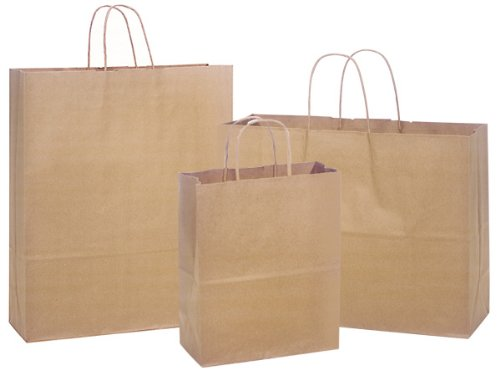 100% Recycled 300 Bag Assortment Kraft Paper Shopping Bags (Unit Pack - 300)