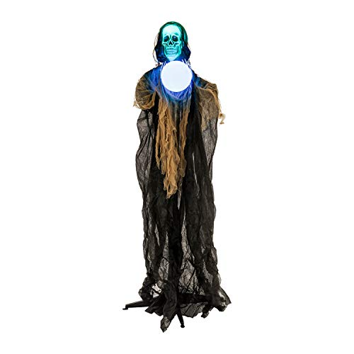 Halloween Haunters Animated Standing 6 Foot Sonic Strobe Skull Reaper with Magic Crystal Ball Prop Decoration - Strobing Green Light Skeleton Head, Flashing Light Up Crystal Ball - Battery Operated ()