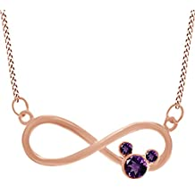 Stunning Round Shape White CZ Mickey Mouse Infinity Pendant Necklace In 14K Gold Over Sterling Silver