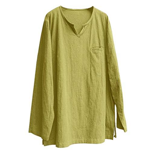 Luca Men's Summer T-Shirt Cotton Linen Thai Hippie Shirt V-Neck Beach Yoga Top Blouse Yellow ()