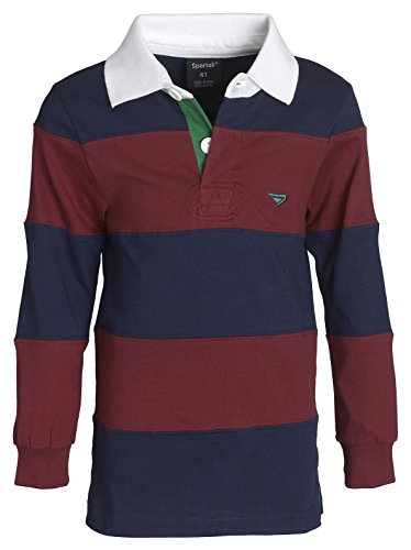 Sportoli Big Boys 100% Cotton Wide Striped Long Sleeve Polo Rugby Shirt - Burgundy (Size 14) (Jersey Long Sleeve Polo Shirt)