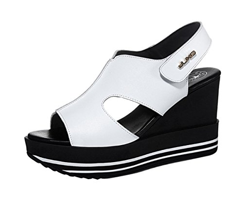 Passionow Ladies 2016 Summer Leather Peep Toe Velcro Slingback Platform Wedge Sandals