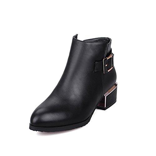 AllhqFashion Damen Reißverschluss Spitz Zehe Knöchel Hohe Stiefel mit Metall Schnalle, Silber, 42