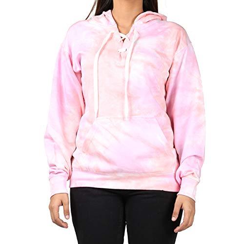 Kara Hub Tie Dye Hoodie Pastel Tie-Dye Hoodies Long Sleeve Pullover Hooded Sweatshirt (X-Small, Berry Pink)