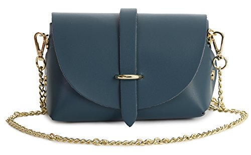 Small Genuine Teal Purse Leather Shoulder Clutch CORIN Mini LIATALIA Womens Deep Handbag Party 4txqwZtBfE