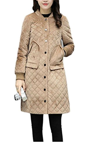 Winter Women apricot Velvet Stand Down Neck UK With Sleeve Coat Pocket Jacket Long today Warm AE6qxSw5