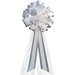 "White Striped Wedding Pull Bows with Tulle Tails - 8"" Wide, Set of 6"