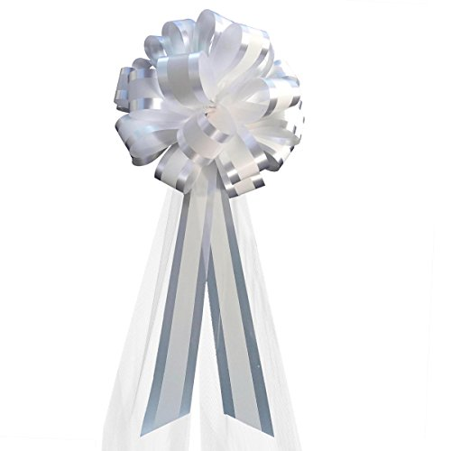 White Striped Wedding Pull Bows with Tulle Tails - 8