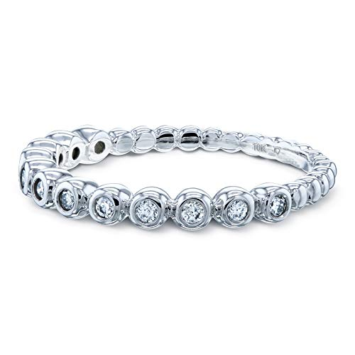 (Ribbed Bezel Diamond Fashion Band (1/8 Carat CTW) in 10k White Gold, 5)