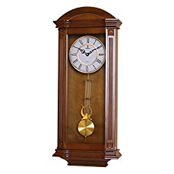 Best Pendulum Wall Clock, Silent Decorative Wood Clock With Swinging Pendulum, Battery Operated, Large Elegant Wooden Design, For Living Room, Kitchen, Office & Home Décor, 27.25 x 11.25 inches