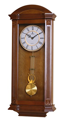 Best Pendulum Wall Clock, Silent Decorative Wood Clock With Swinging Pendulum, Battery Operated, Large Elegant Wooden Design, For Living Room, Kitchen, Office & Home Décor, 27.25 x 11.25 inches (Glass Clock Regulator)