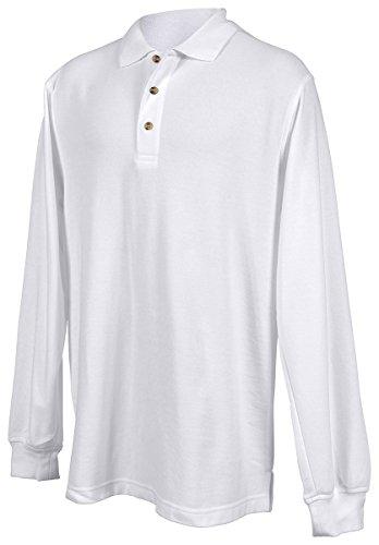 (Tri-Mountain Men's Long Sleeve Polo Shirt 608 Champion White)